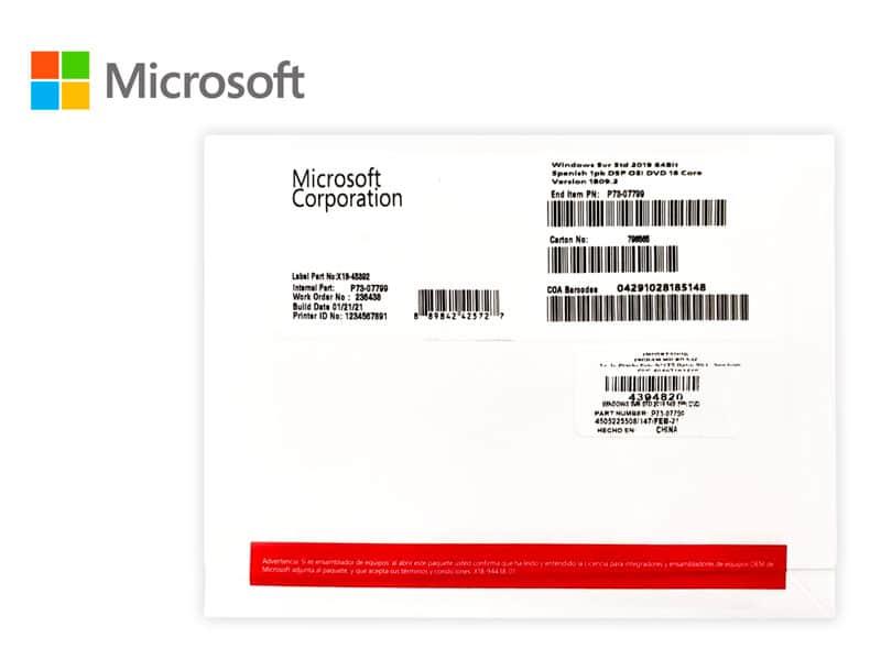 Microsoft Windows Server Standard 2019 64-bit, 1pk 16core OEM