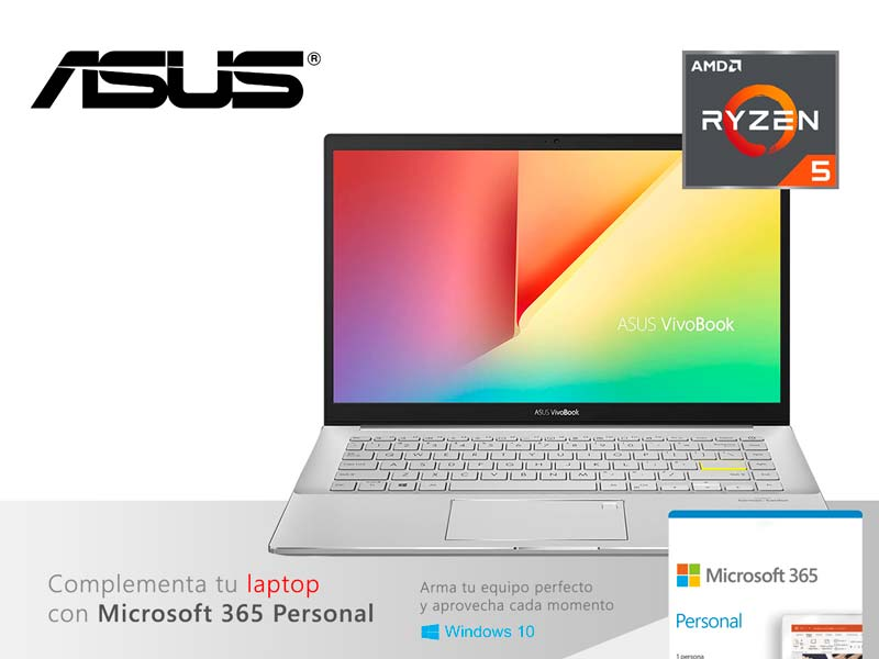 "Laptop ASUS VivoBook M433UA-EB047T Ryzen 5 5500U 8GB/SSD 512GB/FHD 14""/W10H Dreamy White"