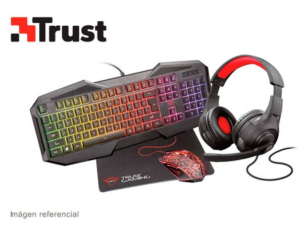Combo Gaming Trust Teclado + Mouse + Audifono + Mouse Pad GXT Gaming Bundle 1180RW 4 en 1